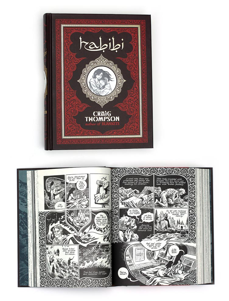 Habibi by the awesome graphic novelist Craig Thompson. A massive and impressive drawing- and illustration-overkill with a frenetic and obesessed love for details!