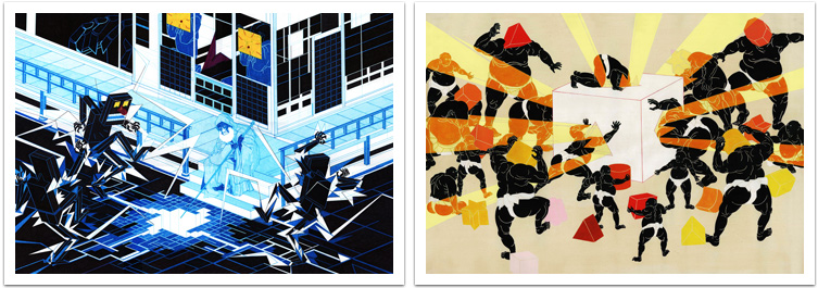 Left: Gridshock – pen on paper – 50 x 70 cm, right: Faith In Shapes – oil on canvas – 85 x 120 cm