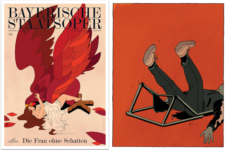 Left: Stefan Glerum – Premierenplakat Frau ohne Schatten, right: Ow Snap